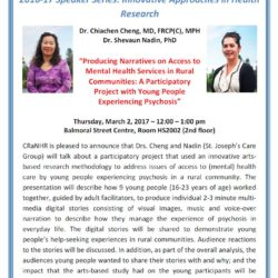 Chiachen Cheng and Shevaun Nadin Centre for Rural and Northern Health Research (CraNHR) 2016-17 Speaker Series Poster