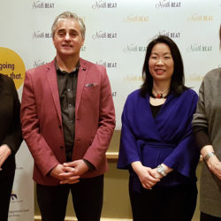 NorthBEAT Collaborative Media Launch, December 1, 2017: Left to Right: Myrna Holman, VP People Mission and Values at SJCG; Bill Mauro, MPP for Thunder Bay-Atikokan; Dr. Chi Cheng, NorthBEAT Project Lead; Lesley Bell, Ontario Trillium Foundation Youth Opportunities Fund)